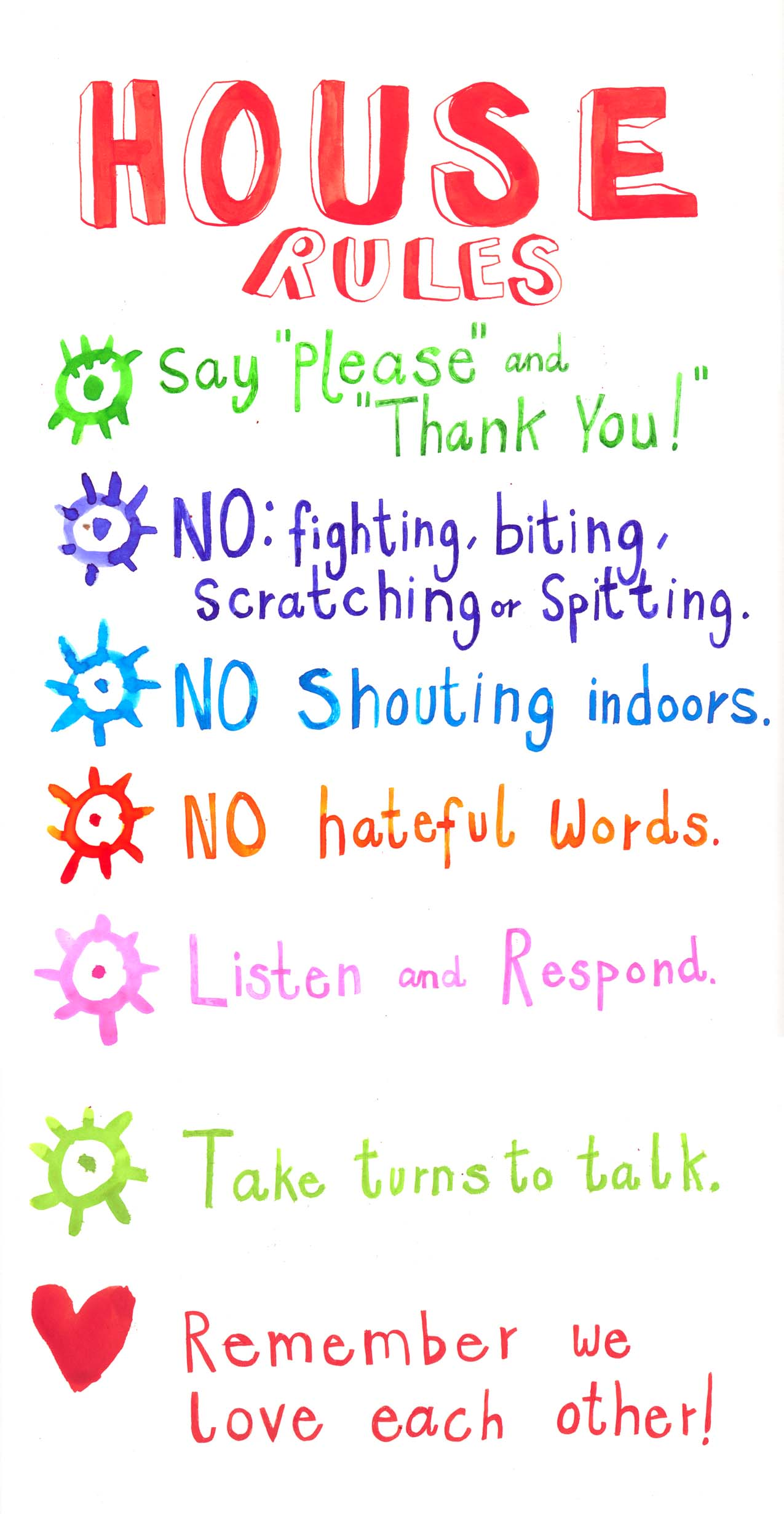 House rules rebecca bradley illustration for House rules chart template